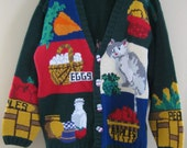 Vintage Kitty Cat Fruit Vegetable Cotton Knit Button Front Ugly Sweater Large
