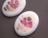 2 Vintage 18x25mm Hand Painted Flower Cameos - Purple and Gold VIC032