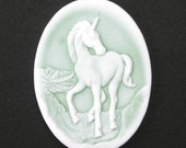 2 Plastic Unicorn Cameos - Mint Green and White - 40x30mm IC050