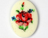 Vintage Plastic Floral Cameo Cabochon 25x18mm Petit Point Red, Ivory (2) VIC211