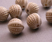 3 packs of - 10 Vintage Plastic Matte Ivory and Gold Engraved Beads 12mm VPB072