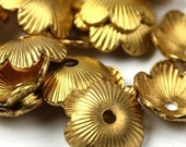 Bead Cap Textured Flower Raw Brass 8mm (10) FI209