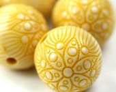 Plastic Beads Ornate Floral Round Mustard Yellow 18mm (6) PB050