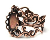 Ornate Filigree Ring Blank 10x8mm Setting Antique Copper Plated (1) FI518