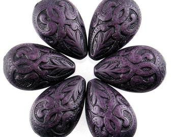 6 Large Vintage Style Deep Purple Drop Beads PB026
