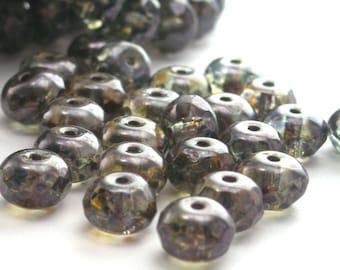 Czech Glass Beads Gemstone Donut 7x5mm Luster Transparent Green BULK WHOLESALE 450 Beads CZF038