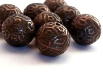 Vintage Antiqued Copper Etched Plastic Beads 14mm (6) VPB163