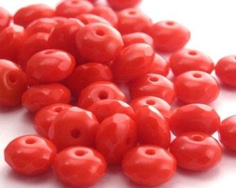 25 Czech Glass Gemstone Donut 4x7mm Opaque Cherry Red CZF032
