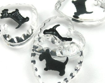 1 Glass Scotty Dog Charm - 15x14 - Crystal and Black CP011