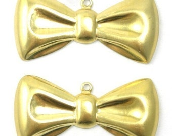 Raw Brass Bow Charms Cute Bow Tie Ribbon Pendant (4) CP014