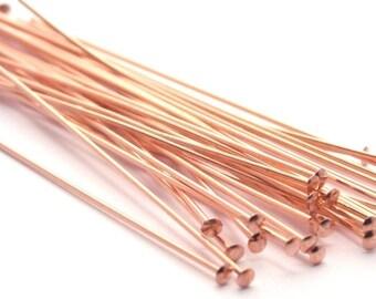 50 Genuine Copper Head Pins - 2 Inch - 24 Gauge FI036