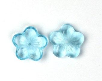 Czech Glass Beads 16x4mm Large Flat Flowers Aquamarine (25) CZP403