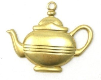 Raw Brass Tea Pot Coffee Kettle Stamping Charms (10) CP016