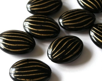 8 Large Flat Oval Plastic Jet Black Beads with Gold Detailing PB036