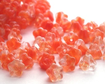 50 Czech Glass Baby Bell Flowers 4/6mm Crystal - Red Beads CZP161