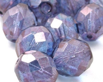25 Czech Glass Firepolish Faceted Rounds - 10mm - Luster Transparent Amethyst CZF107