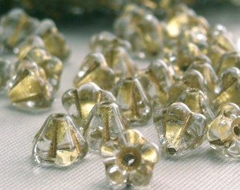 Czech Glass Beads - Baby Bell Flowers 4x6mm Crystal Gold Lined (25) CZP066