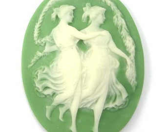 Vintage Japanese Cameo Dancing Ladies Green and Creamy White 48x37.5MM (1) VIC080