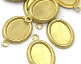 8 Rolled Edge Raw Brass Stampings - 8x6mm Oval Setting - 1 Loop FI147