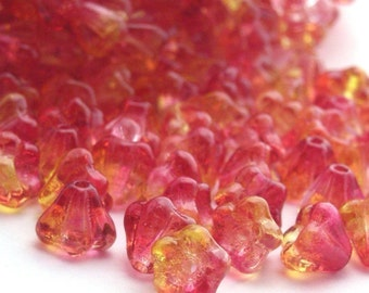 Czech Glass Beads Baby Bell Flowers 4x6mm Dual Coated - Fuchsia Lemon (50) CZP165