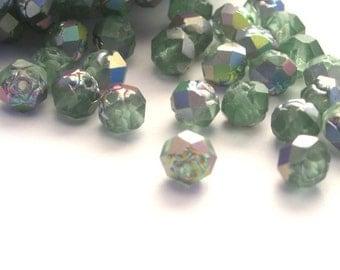 25 Czech Glass Rosebud Firepolish Beads 5x6mm - Matte Peridot Vitral CZF055