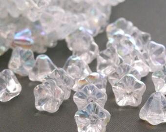 Czech Glass Beads 8x6mm Bell Flowers Crystal AB (25)CZP071