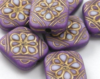 14 Plastic Ornate Flat Rectangle Floral Beads -  Lilac and Gold - PB040