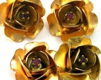 4 Vintage Raw Brass Roses with Genuine Ruby M005