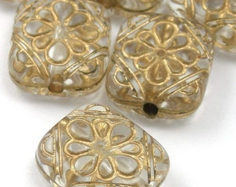 Plastic Ornate Flat Rectangle Floral Beads - Crystal / Gold (14)  PB039