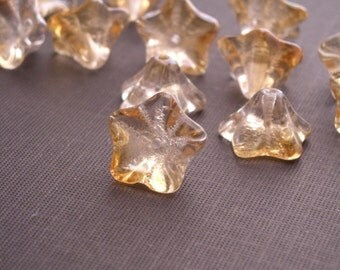 12 Czech Glass Trumpet Flowers - 8/13mm - Luster - Transparent Champagne Half Coat CZP041