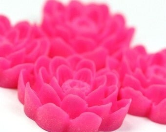 Flower Cabochon Plastic 24mm Hot Pink (2) PC149