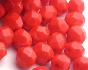 Czech Glass Beads Fire Polished 6mm Opaque Red (25) CZF074