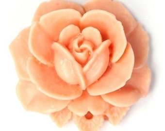 Vintage Style 34mm Matte Peach Plastic Rose Pendant or Cabochon (2) PC168 50% OFF CLEARANCE SALE