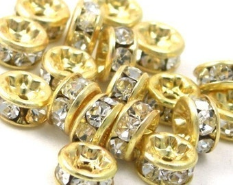 6 Czech Crystal Rhinestone Rondells 4.5mm - Gold Crystal CZM020