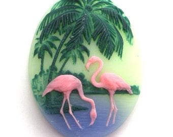 Resin Flamingo Cameos Tropical Bird Cabochons 40x30mm (2) IC031