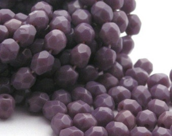 Czech Glass Beads 4mm Fire Polished Opaque Purple (50) CZF109
