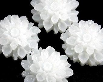 Dahlia Flower Plastic Cabochons Transparent White 18mm (4) PC116 SALE