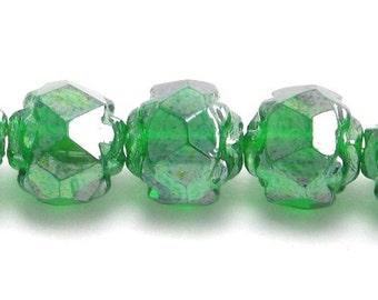 Czech Glass Beads - Fire Polished Rosebud 5x6mm Luster Emerald (25) CZF162