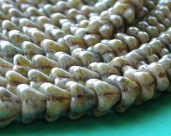 Czech Glass Beads Bell Flower 8x6mm Opaque Luster Green (25) CZP086