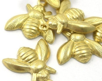 Raw Brass Insect Bee Stamping Charms Small (10) CP024