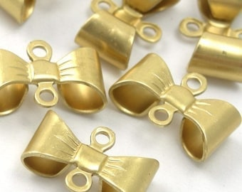 Raw Brass Bow Connector Stamping Charms Small (12) CP028