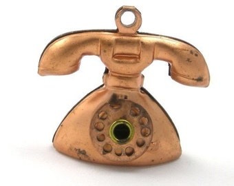 Vintage Copper Telephone Charms with movable Dial VCP033