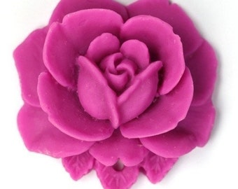 Vintage Style 34mm Matte Fuchsia Plastic Rose Pendant or Cabochon (2) PC167 50% OFF CLEARANCE SALE