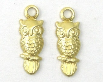 Raw Brass Stamping Charms Tiny Owls Bird Animal Charms (10) CP032