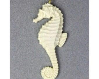 Vintage Plastic Seahorse Pendant 54mm Ivory (181 pieces) VCP054 BULK WHOLESALE