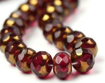 Czech Glass Beads Fire Polished Gemstone Donuts 9x6mm Copper Fuchsia (25) CZF254
