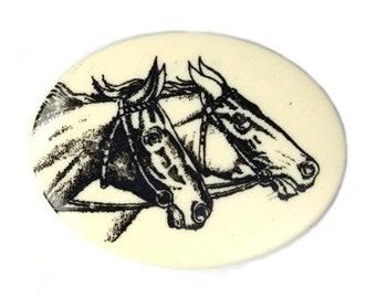 Vintage Plastic Cabochon Black Horse Decal on Cream Base 40x30mm (2) VIC217