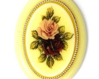 Vintage West German Plastic Cabochon Rose Bouquet Decal 40x30mm (2) VIC218