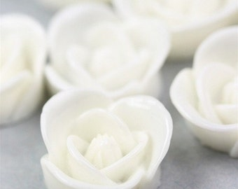 Icing Rose Flower Cabochon Plastic 17mm White (6) PC208 40% OFF CLEARANCE SALE