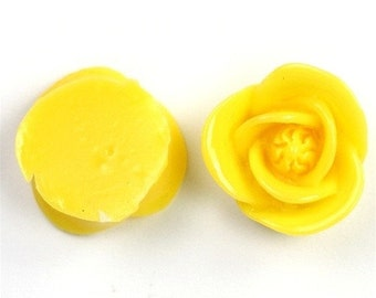 Icing Rose Flower Cabochon Plastic 17mm Yellow (6) PC212 SALE 40% OFF CLEARANCE